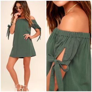 Lulus | Al Fresco Evenings Off Shoulder Mini Dress